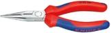 KNIPEX 25 02 160 Flachrundzange mit Schneide (Radiozange) schwarz atramentiert mit Mehrkomponenten-Hüllen 160 mm -