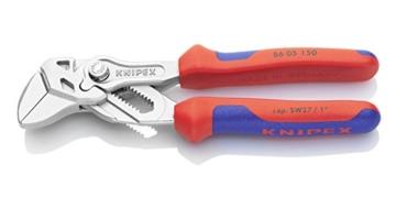 KNIPEX 86 05 150 Mini-Zangenschlüssel Zange und Schraubenschlüssel in einem Werkzeug verchromt mit Mehrkomponenten-Hüllen 150 mm -